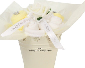 Newborn Baby Clothes Bouquet Gifts Lemon and Cream FREE DELIVERY