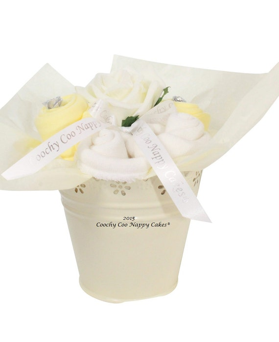 Newborn Baby Clothes Bouquet Gifts Lemon and Cream FREE