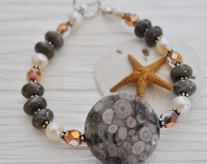 Crinoid Fossil Stone bracelet with crystals and pearls, natural stone bracelet