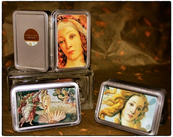 Tins/Trinket Boxes/Gift Card Holders:  Set of Three Botticelli Painting-style