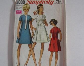 Simplicity 8088 1960s Princess Seamed Dresses Vintage Sewing Pattern Size Petite 12, vintage 1960s princess dress pattern