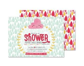 Rain and Clouds Baby Shower Invitation (kawaii invite)