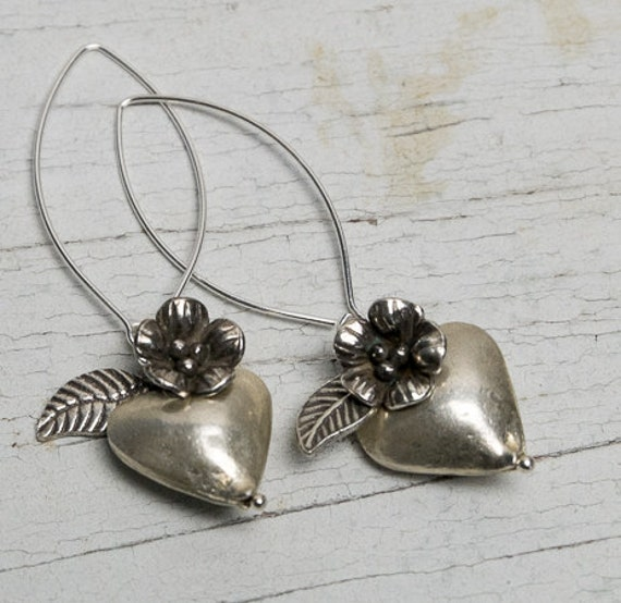 Hearts and flowers fine silver earrings hand made and one of a kind by ladeDAH! jewelry.
