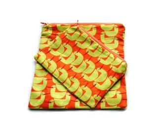 Reusable Sandwich/Snack Bags set of 2 Orange Yellow Ducks Zipper Bags