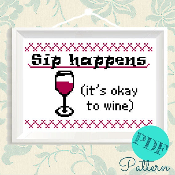 Wine cross stitch diy embroidery quote funny gift from