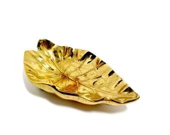Imperial Brass Tarro Leaf, 1940s, Very Heavy Brass Leaf, Leaves, Finely Detailed, Trinket Tray