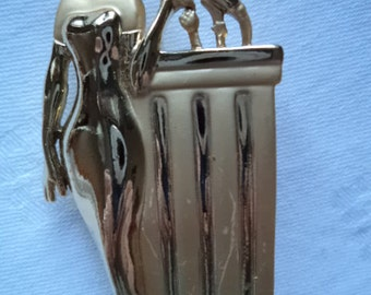 Vintage AJC Goldtone/Matt Art Deco Lady Singing in Mic Brooch/Pin Very Rare