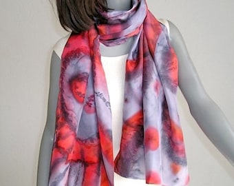 Hand Painted Shawl, Hand Dyed Silk, One of a Kind, Gray Red Black, Gray Red Wrap, lavender gray, Artisan Handmade, Unique, Jossiani
