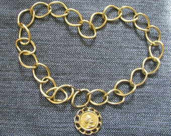 """Oversized Chain Link Belt w/ Latin Pendant  2"""" Links Adjustable to 33"""" or less"""
