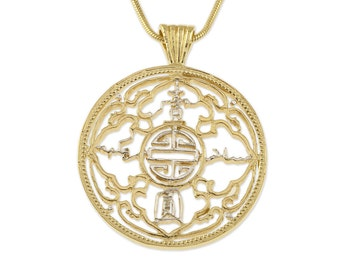 "Great Britain Trade Dollar Pendant and Necklace, British Trade Dollar Hand Cut, 14 K Gold and Rhodium Plated, 1 1/4"" in Diameter, ( # 833 )"