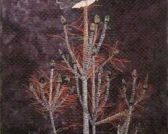 Saw-Whet -Art Quilt - Fiber Art - Quilt - Wall Hanging - Original - Handmade - Bird - Owl - Pine Tree - Applique - Feathers- Art - Textile