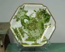 Asian Octagonal Peacock Porcelain Plate .  Green & Gold . Crackled Finish . Gorgeous