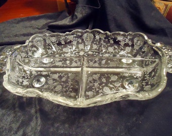 Cambridge Rose Point Footed Crystal Divided Dish
