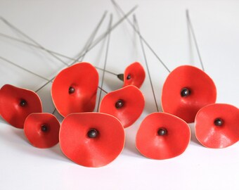Red Poppy, Red Poppy Ceramic Flower, bouquet red flowers for weddings, home office garden decor