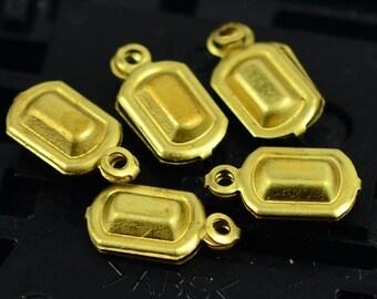 25 Pieces Raw Brass Rectangular  8x4 mm Findings