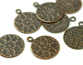 72 Pcs Copper Plated 13 mm Patterned Findings , Charms