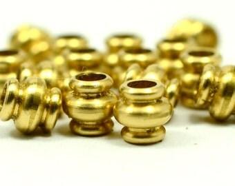 15 Pieces Raw Brass 7x7 mm Barrel Oval Industrial Bead