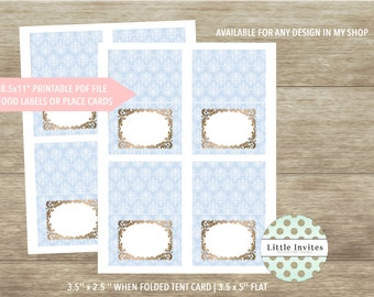 Place cards/place cards printable/matching place cards/place cards baptism/baby shower/DIY printable/damask/boys baptism/food labels