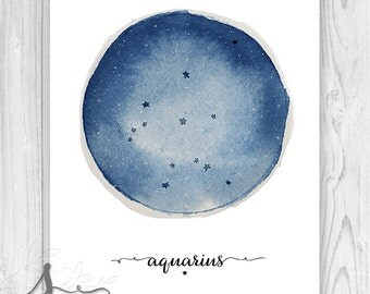 Aquarius Constellation Watercolor Art Print, Zodiac Constellation Print, Star Chart, Astrology Print - Wall Art Poster Print