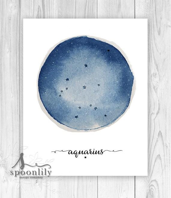 Aquarius Constellation Zodiac Constellation Print Star