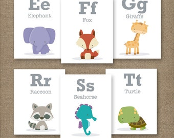 5x7 SMALL CAPS. Alphabet Animal Flash Cards.