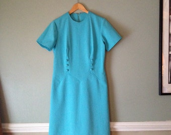 50s Aqua sz Lrg Mod Darted Semi Formal Sun Dress