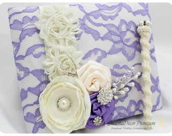 READY TO SHIP Wedding Lace Guest Book Custom Bridal Flower Brooch Guest Books in Ivory, and Lavender Lilac