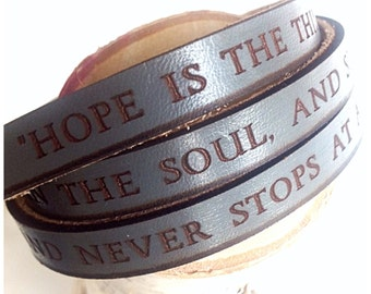 Hope is the thing with feathers... Emily Dickinson Grey Daily Reminder Leather wrap bracelet