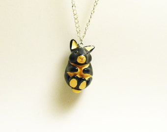 necklace tiny black fire bunny rabbit