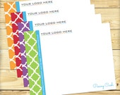 Note Card, Customized, Quatrefoil Design - DIGITAL FILE