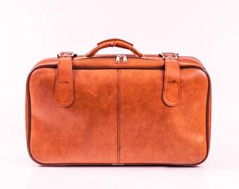 70's Bag & Suitcase Pair / Retro Luggage / 70s Bags