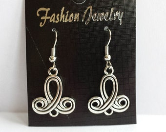 Swirl earrings, Dangle earrings, Tibetan Silver, Jewellery, Jewelery, Fashion earrings, Earrings, Silver tone, Womens earrings,