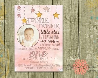 Pink Twinkle Twinkle Little Star Invitation - Water Color, Twinkle Twinkle Little Star she has grown so much and come so far