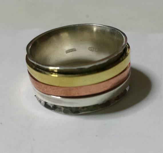 bague en argent 925 avec 3 anneaux spinner de cuivre argent. Black Bedroom Furniture Sets. Home Design Ideas