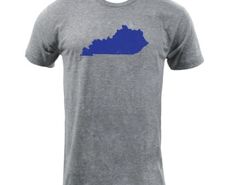 Distressed Kentucky State Shape - Athletic Grey