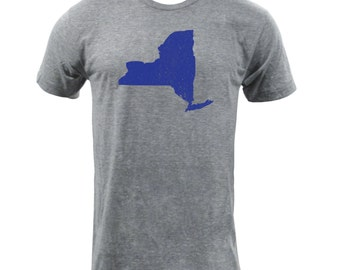 Distressed New York State Shape - Athletic Grey