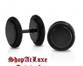 One Pair 016 Gauge Cheater/Fake Plugs - Available in Black and White