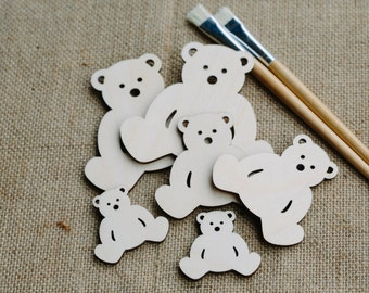 Wooden Teddy Bear Bunting or Garland Wall Hanging Decoration