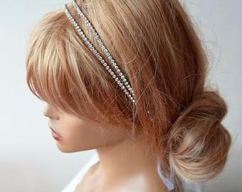 Bridal Hair Accessories, Double Rhinestone Headband, Wedding Hair Accessories, Wedding Headband