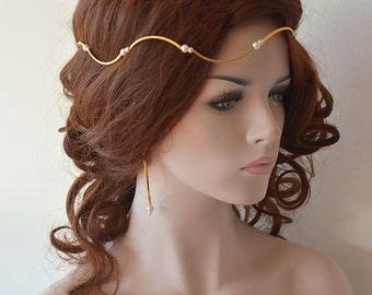 Gold Bridal Hair Crown, Wedding Hair Accessories, Bridal Hair Accessories, Modern Tiara, For Bridesmaids, Bridal Wedding Prom Headband