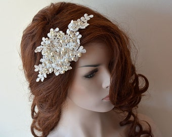 Ivory  Lace Wedding Headband,  Lace Bridal Hair Comb, Wedding Headband, Bridal Hair Accessory, Wedding Hair Accessories