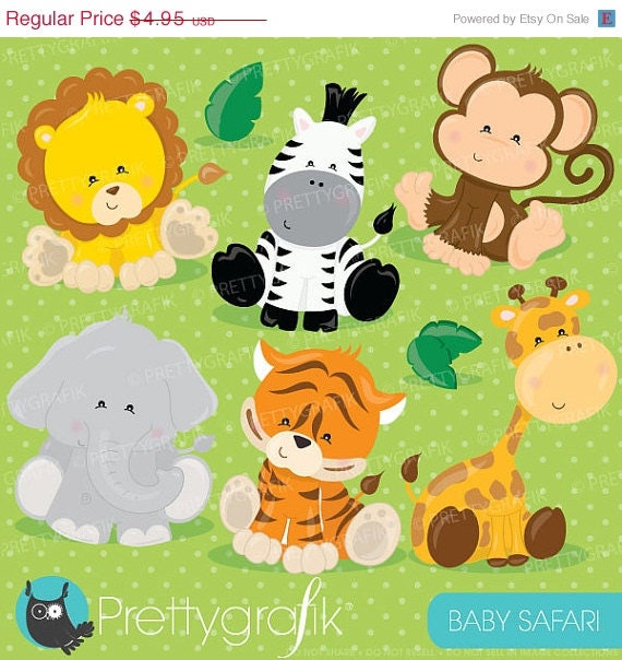 80 Off Sale Baby Safari Animals Clipart By Prettygrafikdesign