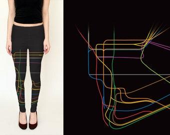New York Metro System Leggings / NY Subway Map Leggings