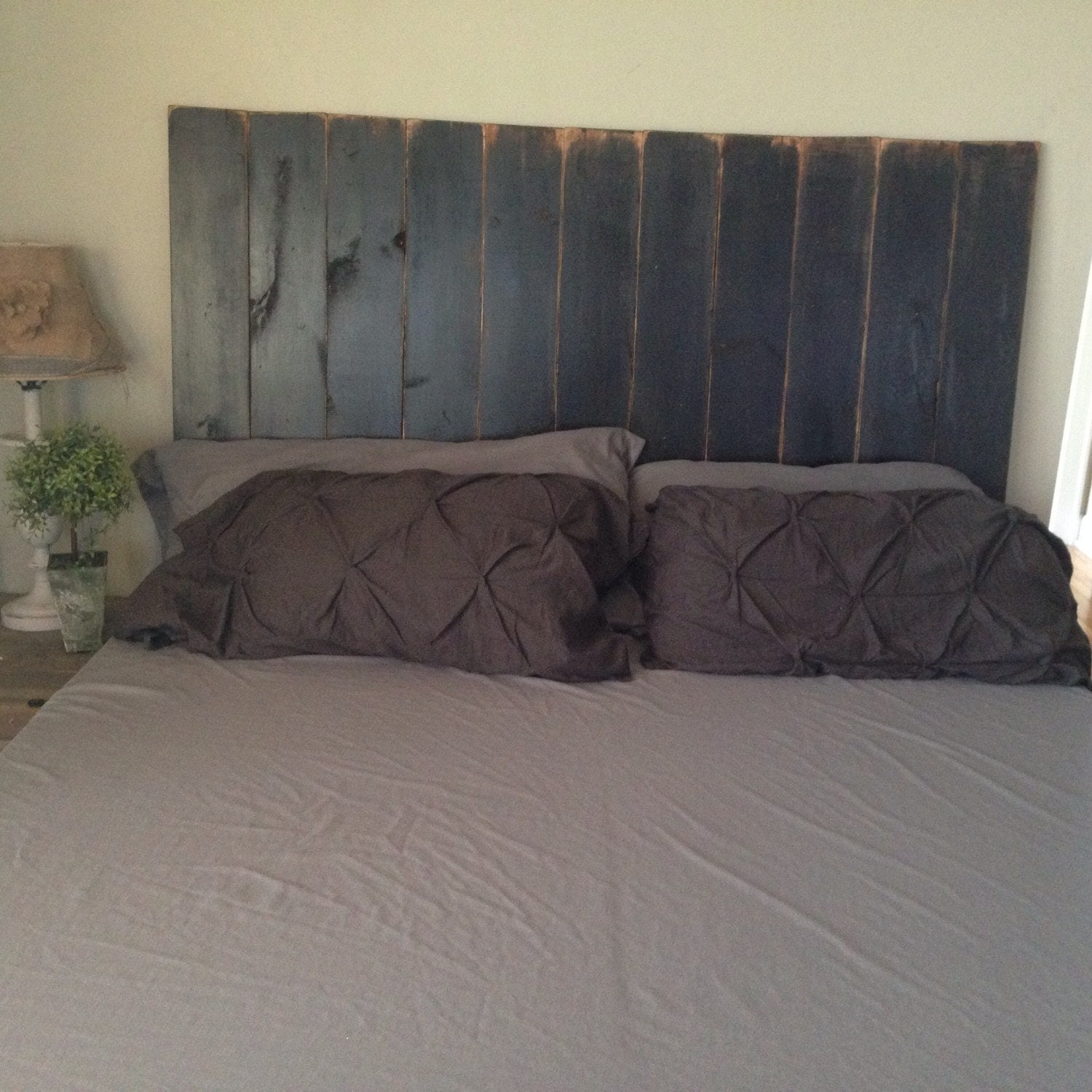 Rustic Headboard Black Distressed
