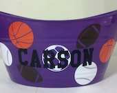 Personalized Basket, Easter Basket, Sand Bucket, Storage Tub, with Sports Theme
