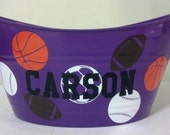 Personalized Basket, Sand Bucket, with Sports Theme