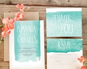 Teal Watercolor Wedding Invitation Set - Free Shipping or Digital Version