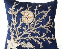 Decorative Pillow Cover -Sequin Beaded Nautical Pillows -Oceanic Pillow -Sea Pillow -Large Coral Pillow -26x26 -Euro Sham -Gift -Beach Decor