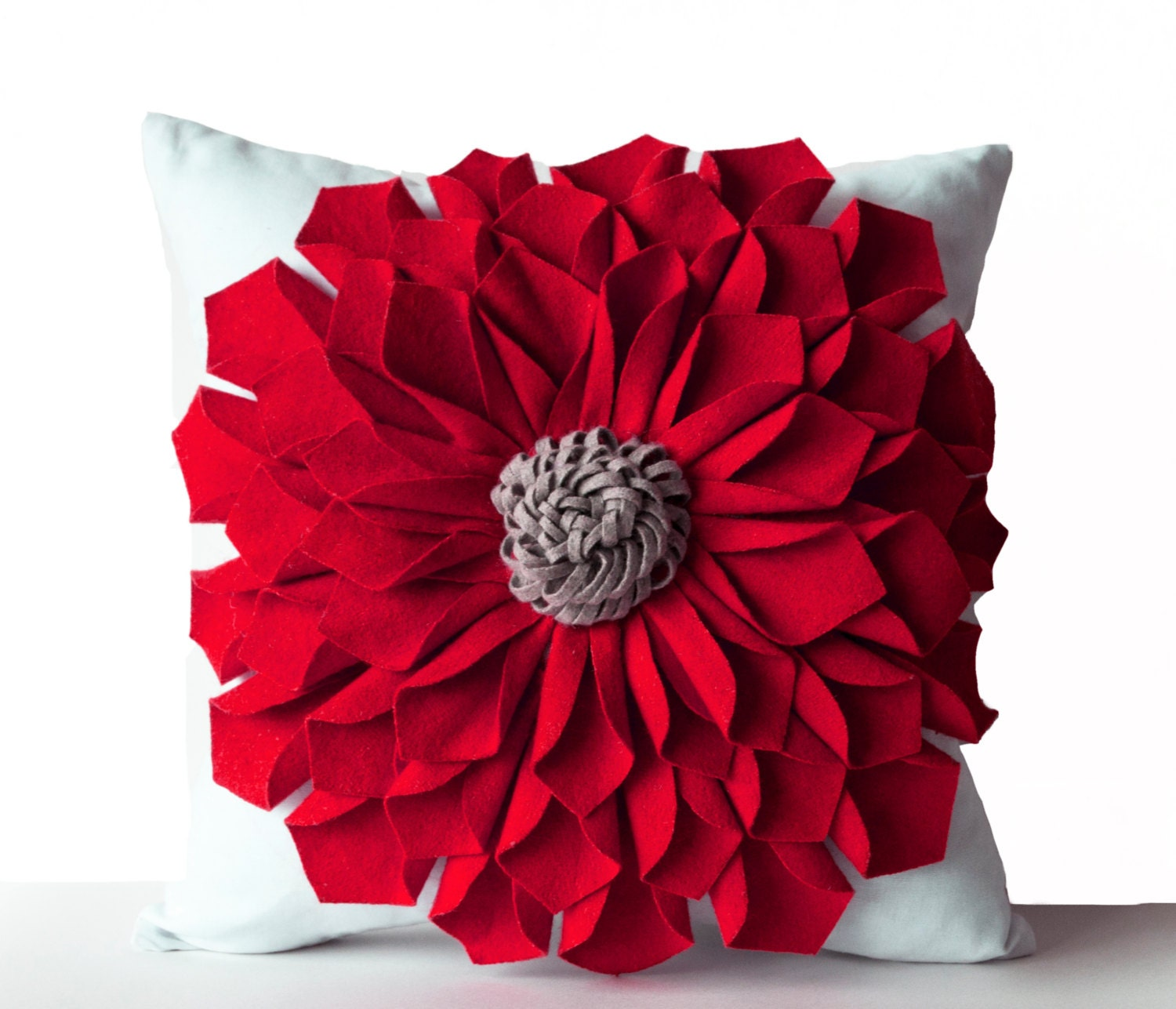 Decorative Pillows Flowers : Felt Flower Pillow Cover Red Gray White Pillow Case Floral