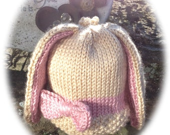 Knit Bunny Hat Pattern - Whimsical Animal Beanie - Infant, Toddler, Child Sizes Included